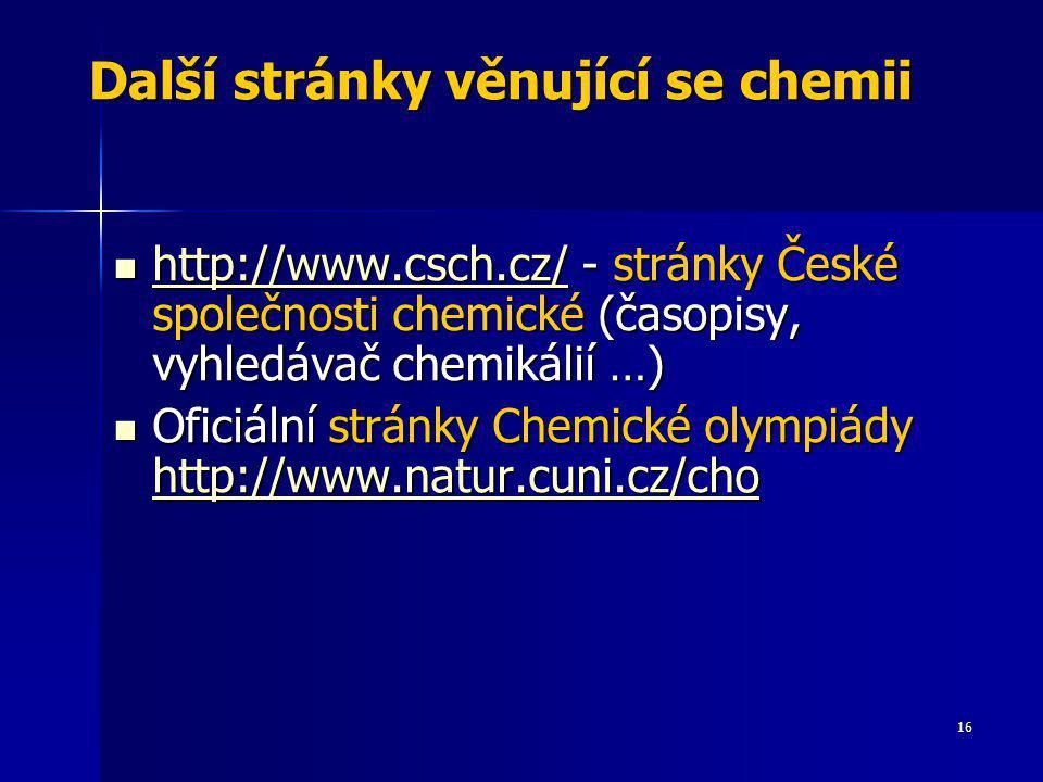 Další stránky věnující se chemii