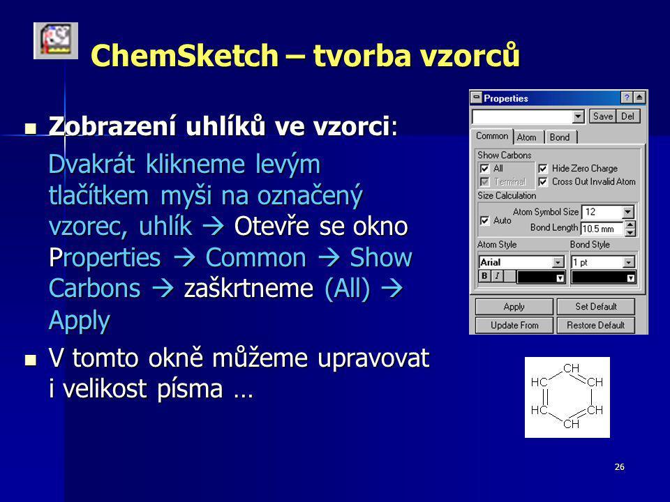 ChemSketch – tvorba vzorců