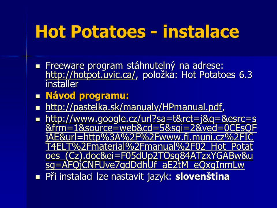 Hot Potatoes - instalace