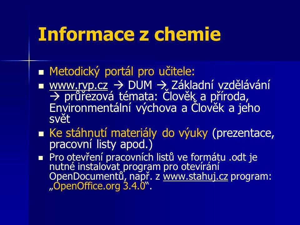 Informace z chemie Metodický portál pro učitele: