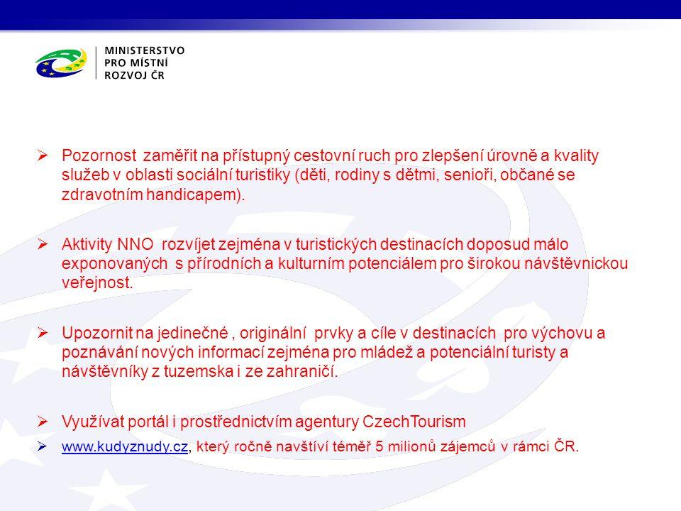 Využívat portál i prostřednictvím agentury CzechTourism