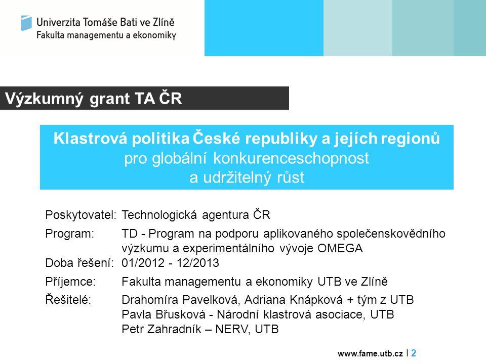 Výzkumný grant TA ČR Klastrová politika České republiky a jejích regionů pro globální konkurenceschopnost a udržitelný růst.