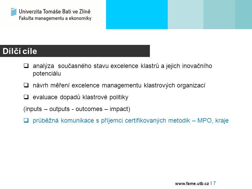 Dílčí cíle analýza současného stavu excelence klastrů a jejich inovačního potenciálu. návrh měření excelence managementu klastrových organizací.