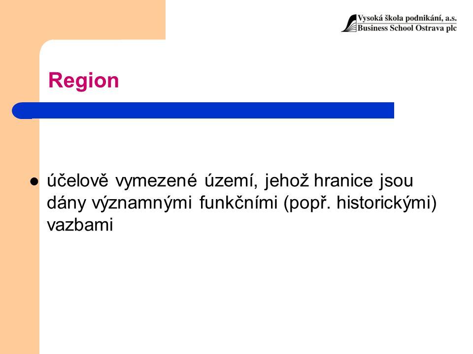 Region účelově vymezené území, jehož hranice jsou dány významnými funkčními (popř.