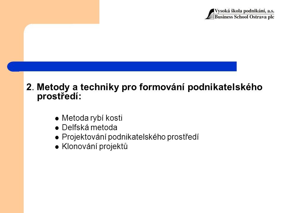 2. Metody a techniky pro formování podnikatelského prostředí: