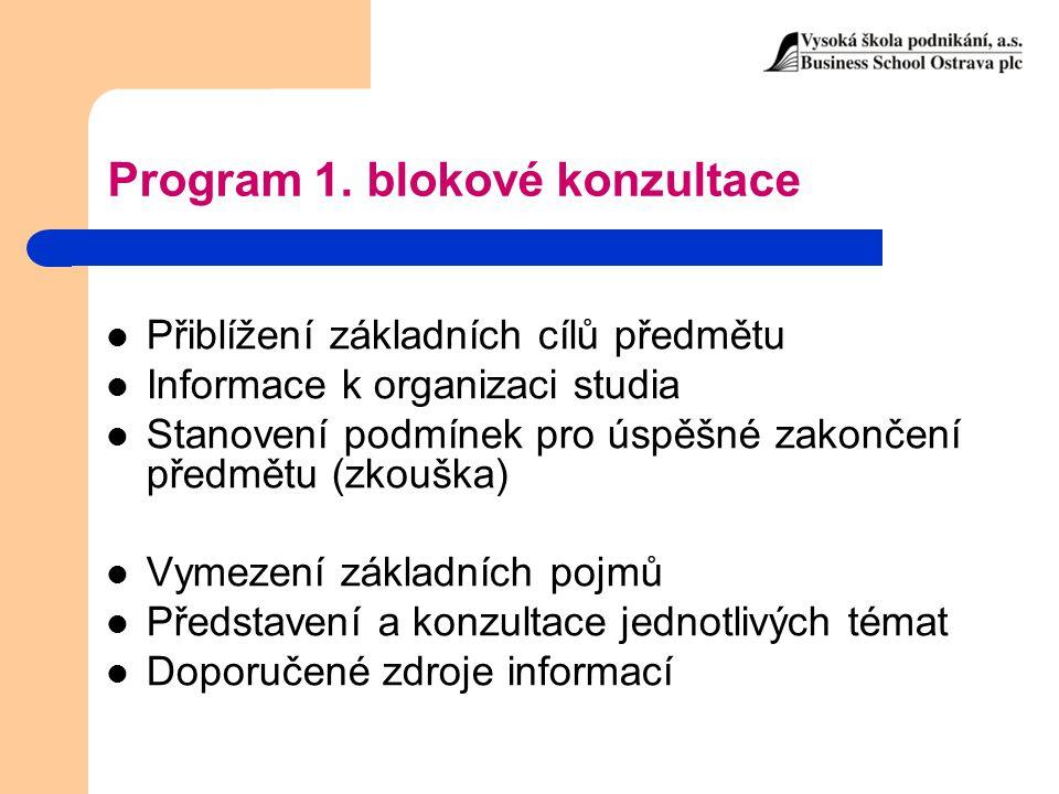 Program 1. blokové konzultace