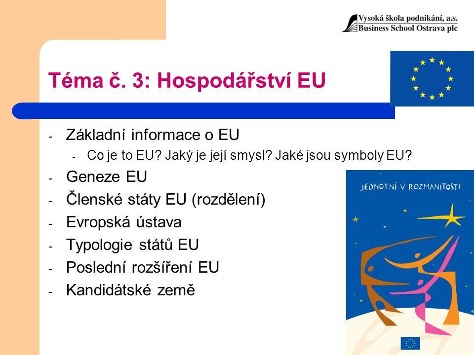 Téma č. 3: Hospodářství EU
