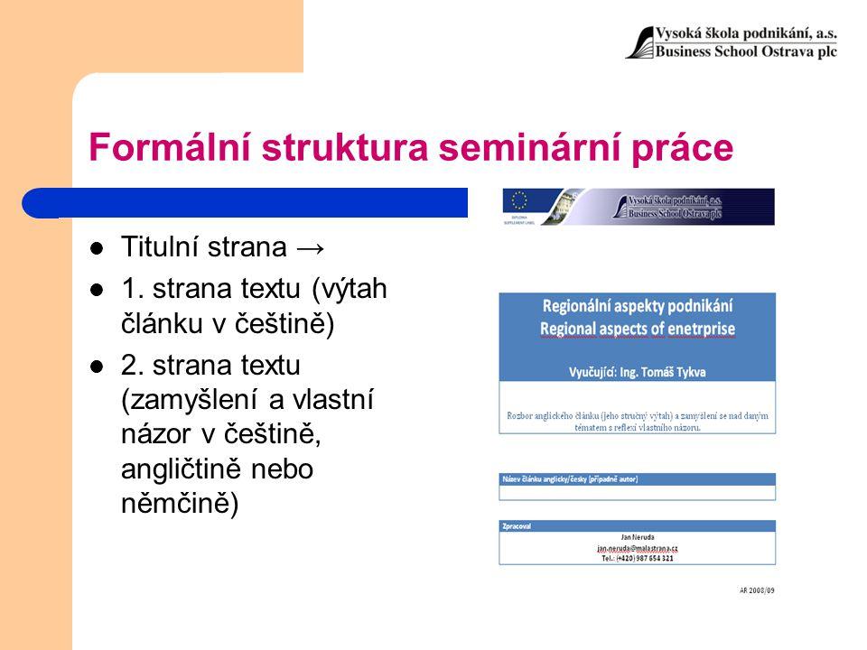 Formální struktura seminární práce