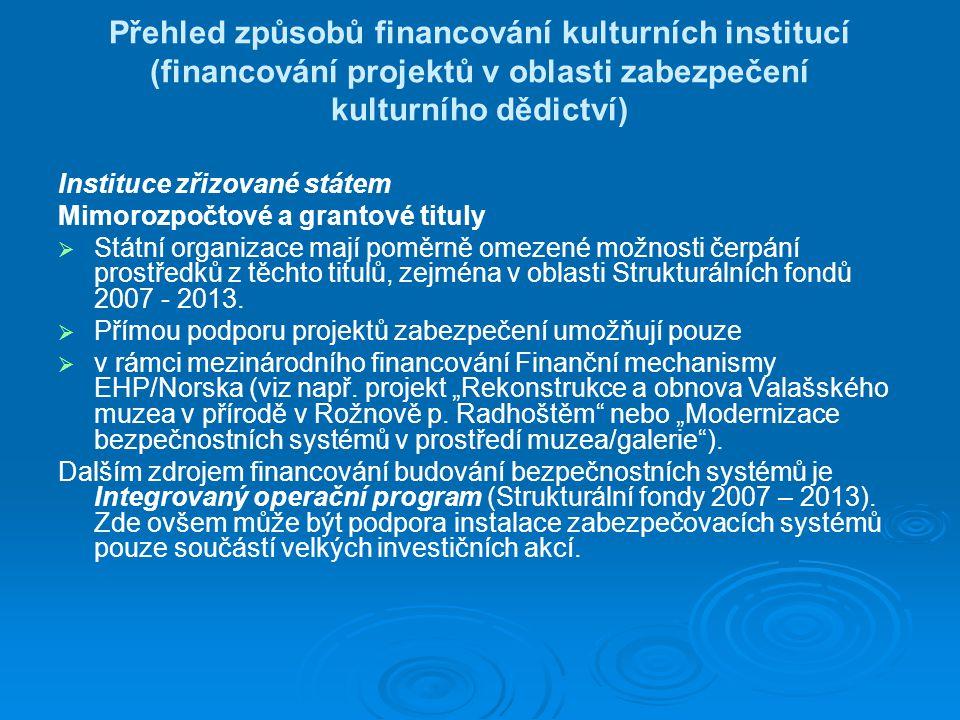 Přehled způsobů financování kulturních institucí (financování projektů v oblasti zabezpečení kulturního dědictví)