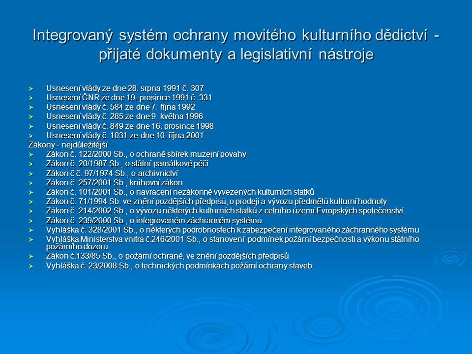 Integrovaný systém ochrany movitého kulturního dědictví - přijaté dokumenty a legislativní nástroje