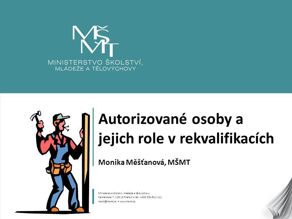 Autorizované osoby a jejich role v rekvalifikacích Monika Měšťanová, MŠMT