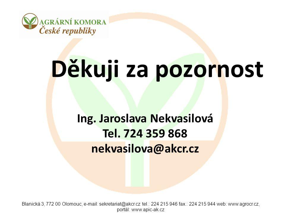 Ing. Jaroslava Nekvasilová Tel. 724 359 868 nekvasilova@akcr.cz
