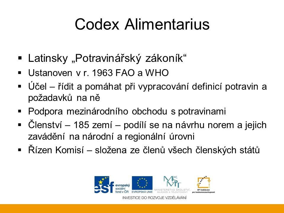 """Codex Alimentarius Latinsky """"Potravinářský zákoník"""