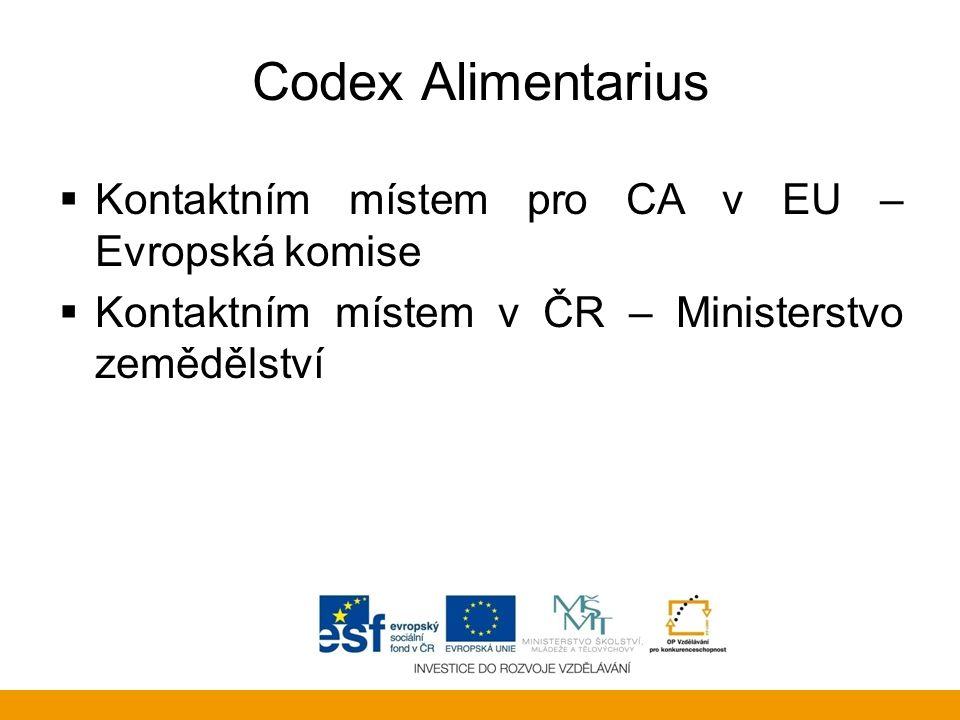 Codex Alimentarius Kontaktním místem pro CA v EU – Evropská komise