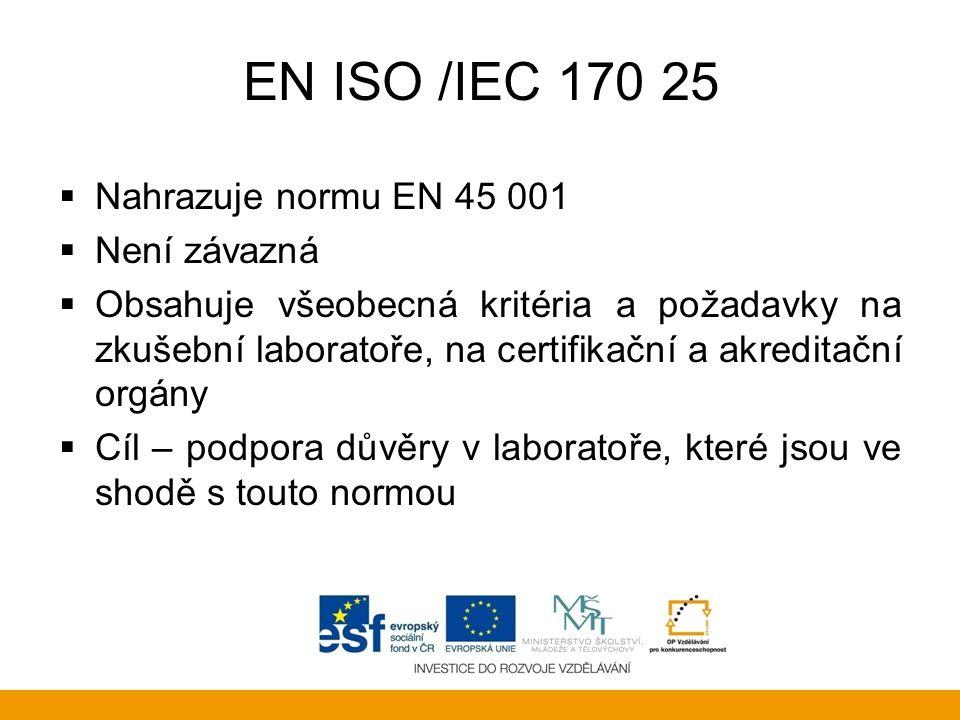 EN ISO /IEC 170 25 Nahrazuje normu EN 45 001 Není závazná