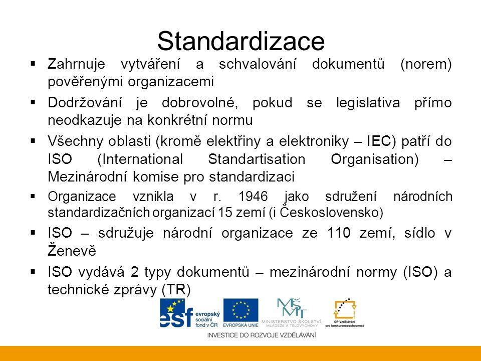 Standardizace Zahrnuje vytváření a schvalování dokumentů (norem) pověřenými organizacemi.
