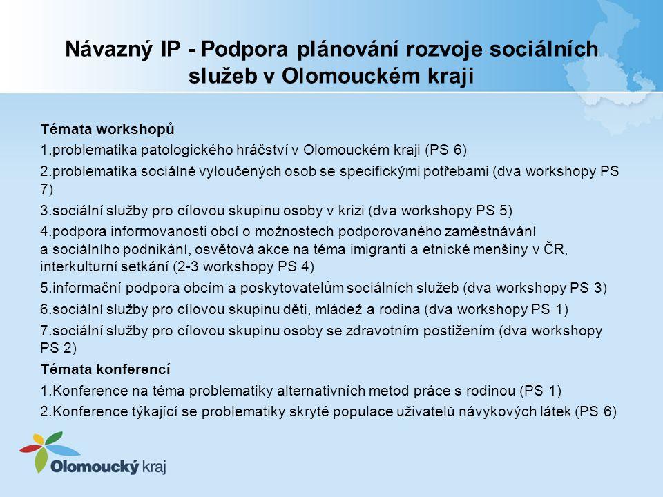 Návazný IP - Podpora plánování rozvoje sociálních služeb v Olomouckém kraji