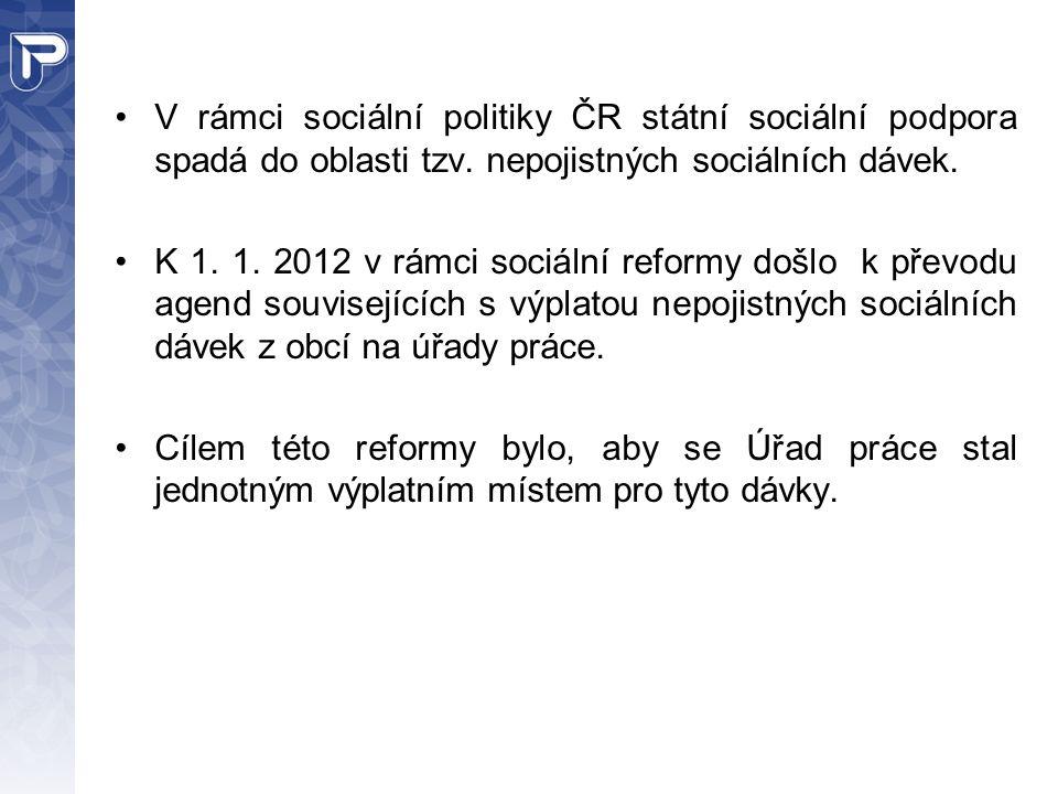 V rámci sociální politiky ČR státní sociální podpora spadá do oblasti tzv. nepojistných sociálních dávek.
