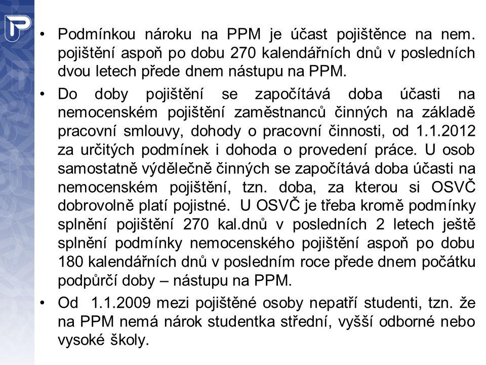 Podmínkou nároku na PPM je účast pojištěnce na nem