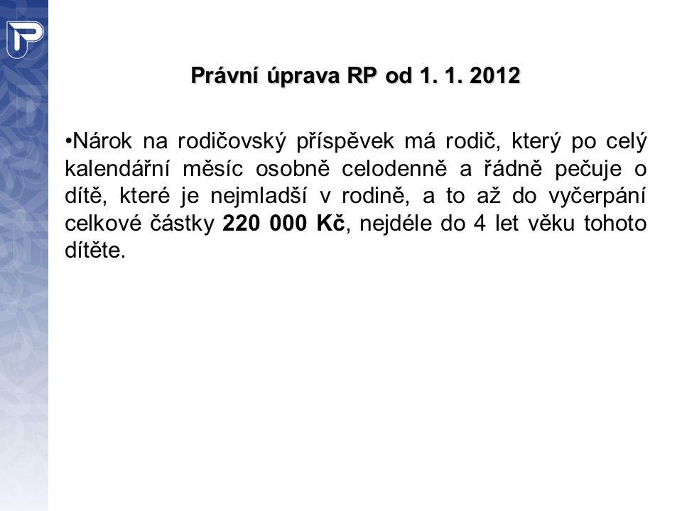 Právní úprava RP od 1. 1. 2012