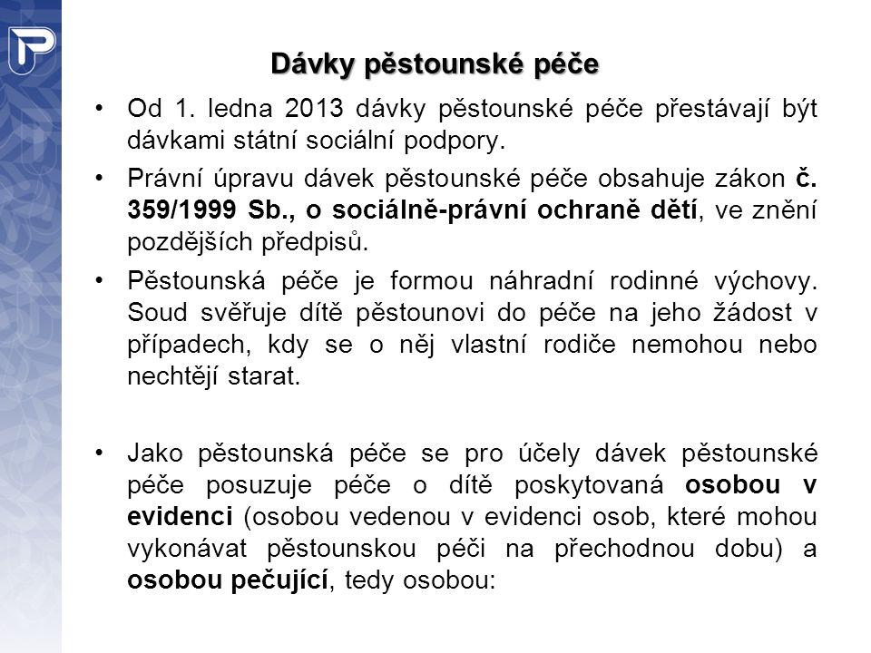 Dávky pěstounské péče Od 1. ledna 2013 dávky pěstounské péče přestávají být dávkami státní sociální podpory.