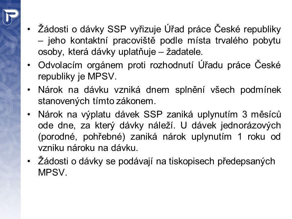 Žádosti o dávky SSP vyřizuje Úřad práce České republiky – jeho kontaktní pracoviště podle místa trvalého pobytu osoby, která dávky uplatňuje – žadatele.