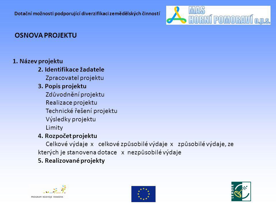 Dotační možnosti podporující diverzifikaci zemědělských činností