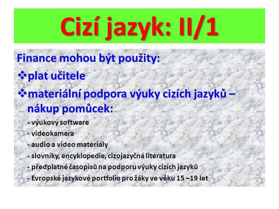 Cizí jazyk: II/1 Finance mohou být použity: plat učitele