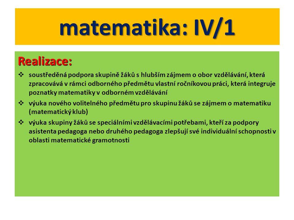 matematika: IV/1 Realizace: