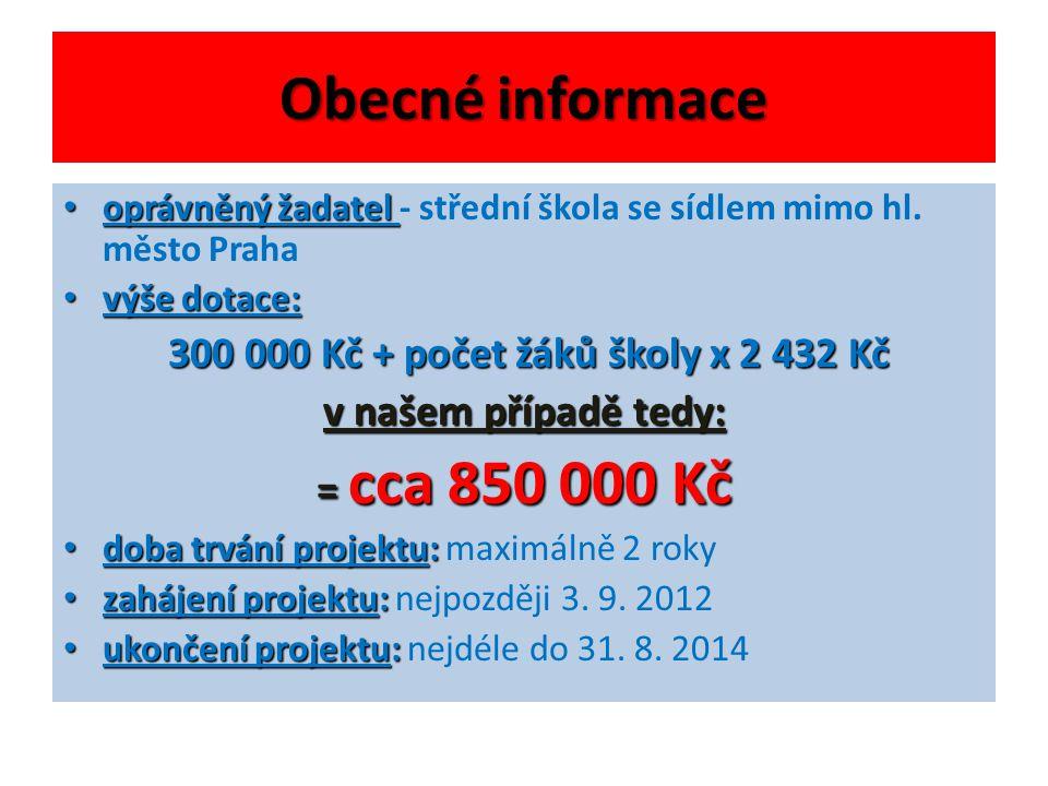 Obecné informace 300 000 Kč + počet žáků školy x 2 432 Kč