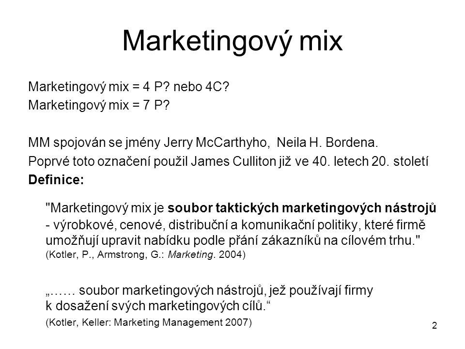 Marketingový mix Marketingový mix = 4 P nebo 4C Marketingový mix = 7 P MM spojován se jmény Jerry McCarthyho, Neila H. Bordena.