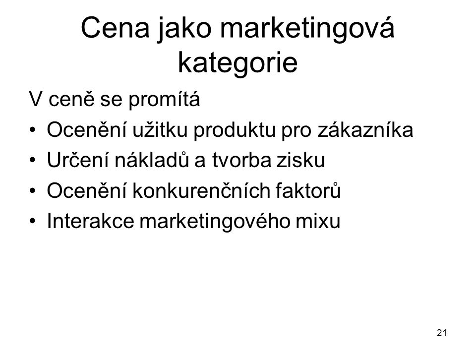 Cena jako marketingová kategorie