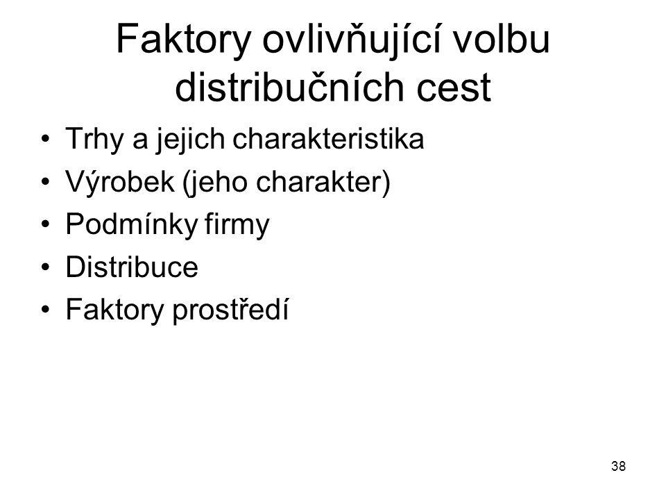 Faktory ovlivňující volbu distribučních cest