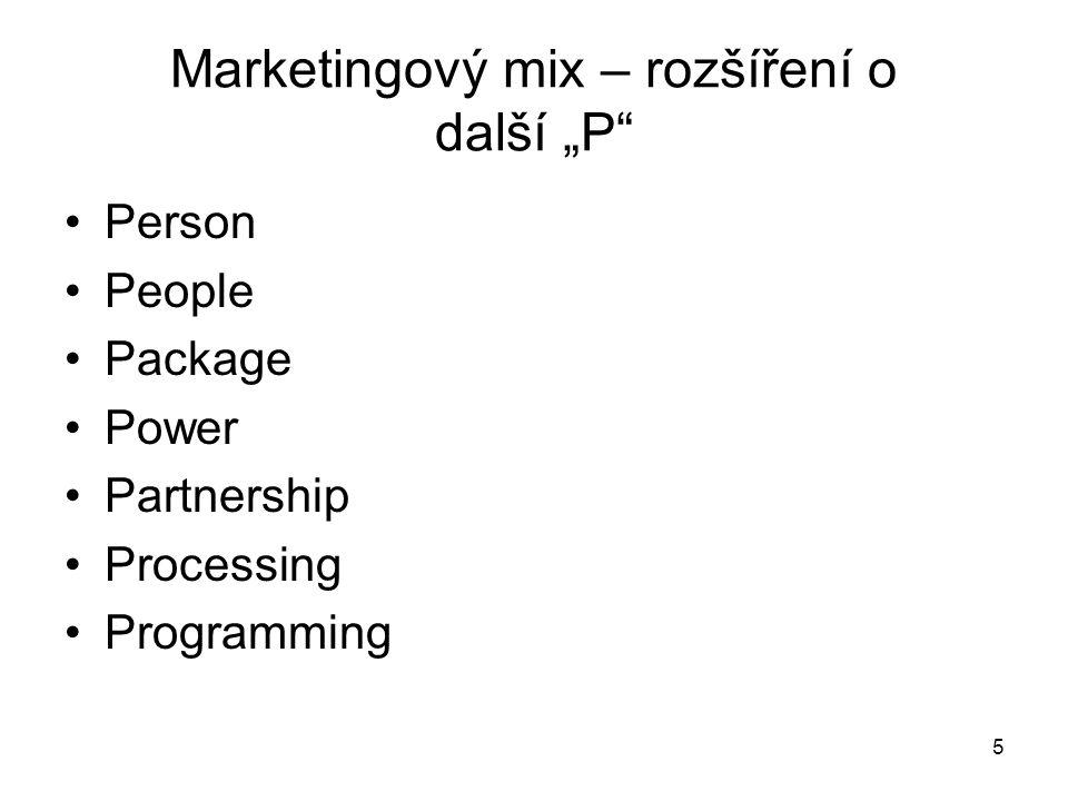 """Marketingový mix – rozšíření o další """"P"""