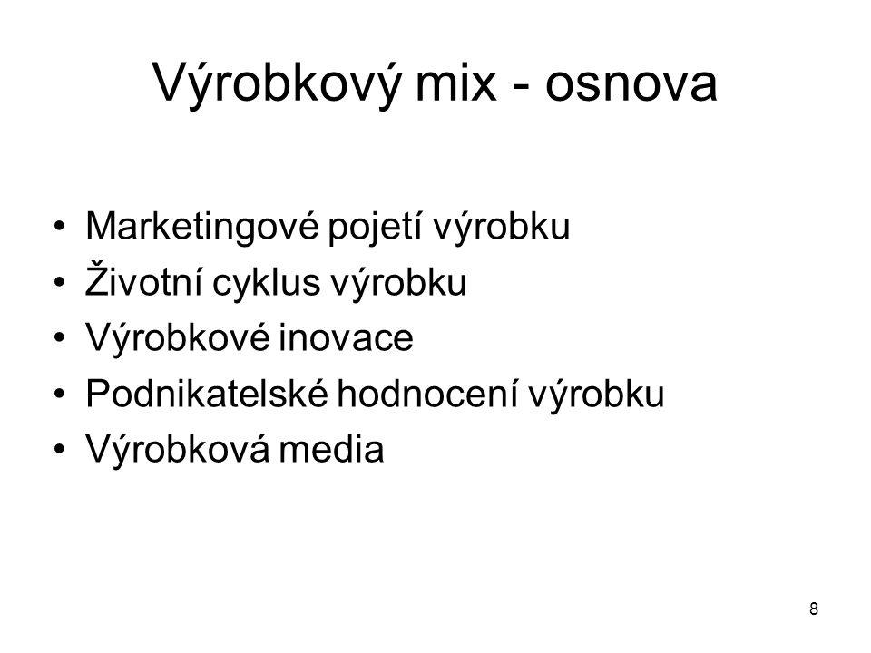 Výrobkový mix - osnova Marketingové pojetí výrobku