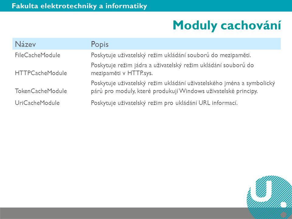 Moduly cachování Název Popis FileCacheModule