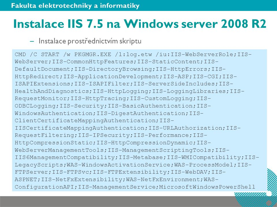 Instalace IIS 7.5 na Windows server 2008 R2