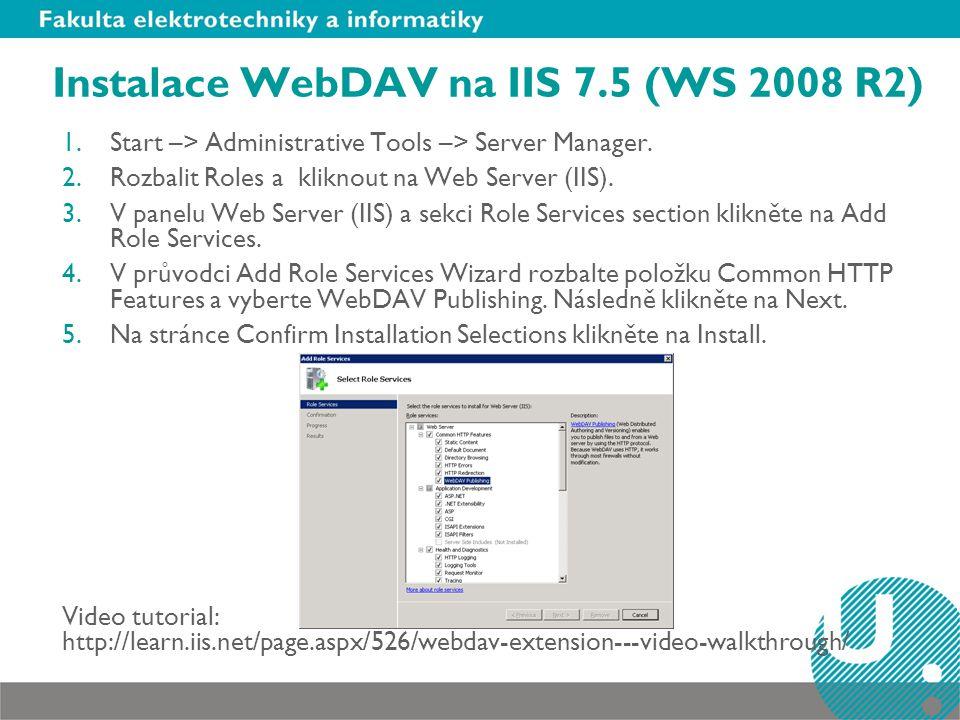 Instalace WebDAV na IIS 7.5 (WS 2008 R2)