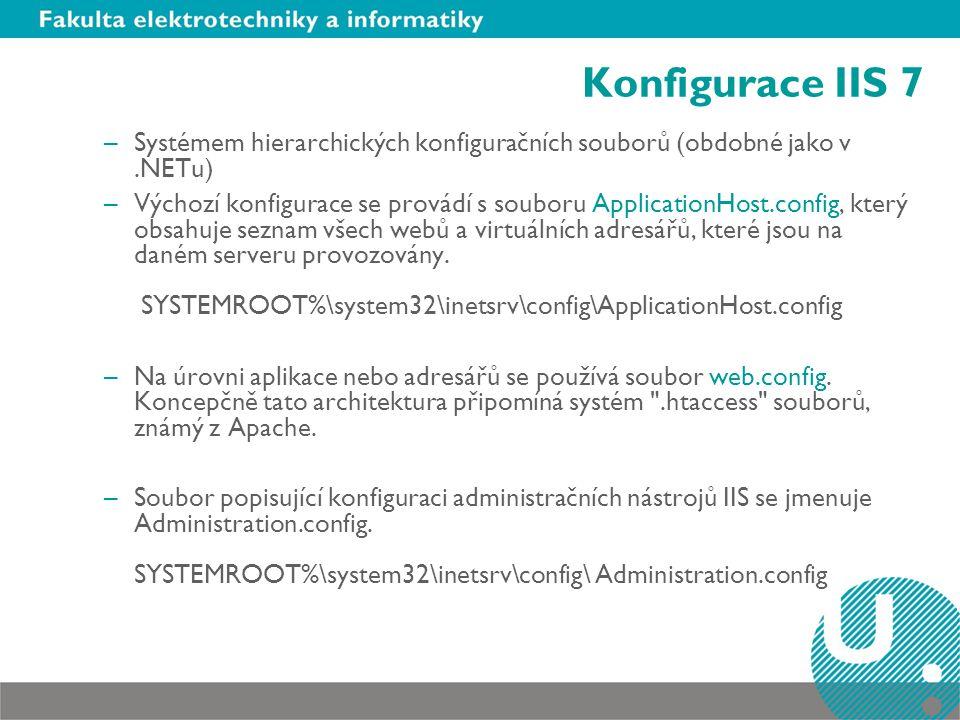 Konfigurace IIS 7 Systémem hierarchických konfiguračních souborů (obdobné jako v .NETu)
