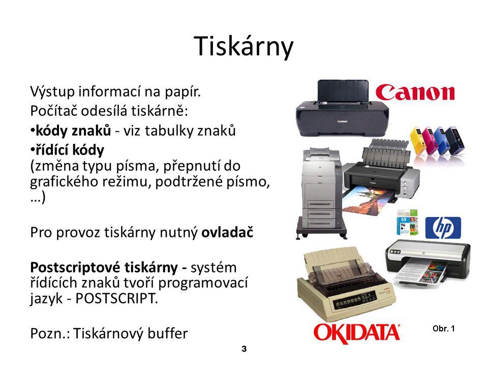 Tiskárny Výstup informací na papír. Počítač odesílá tiskárně: