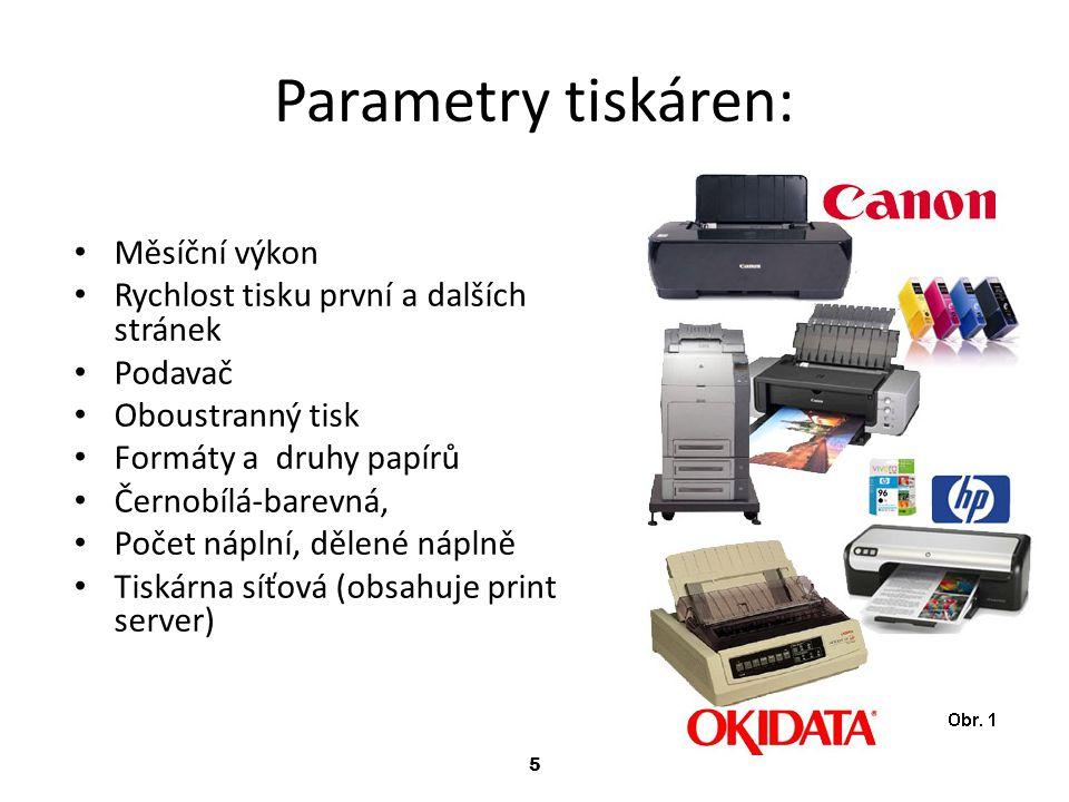 Parametry tiskáren: Měsíční výkon