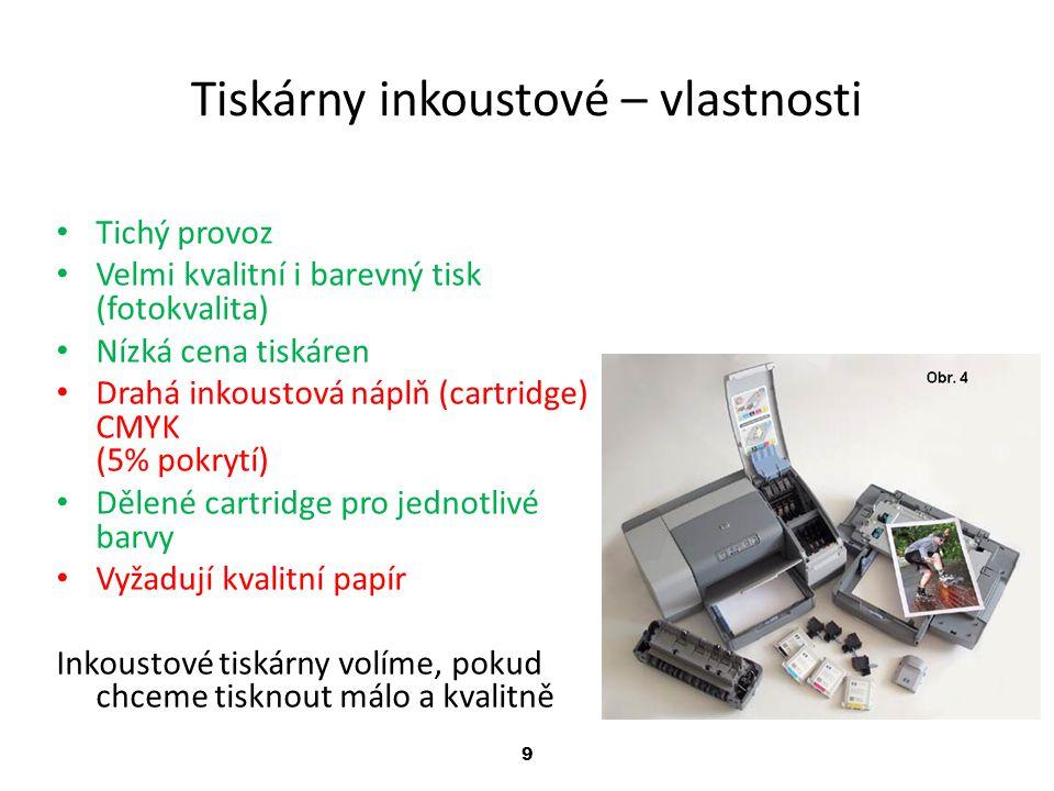 Tiskárny inkoustové – vlastnosti
