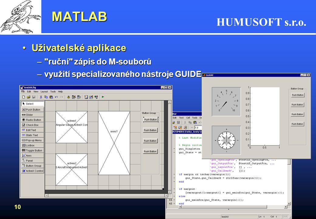 MATLAB Uživatelské aplikace ruční zápis do M-souborů
