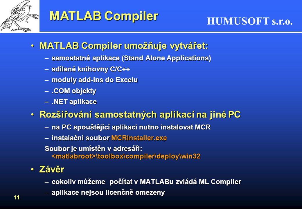 MATLAB Compiler MATLAB Compiler umožňuje vytvářet: