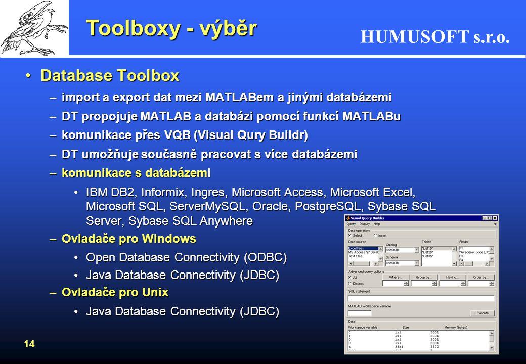 Toolboxy - výběr Database Toolbox
