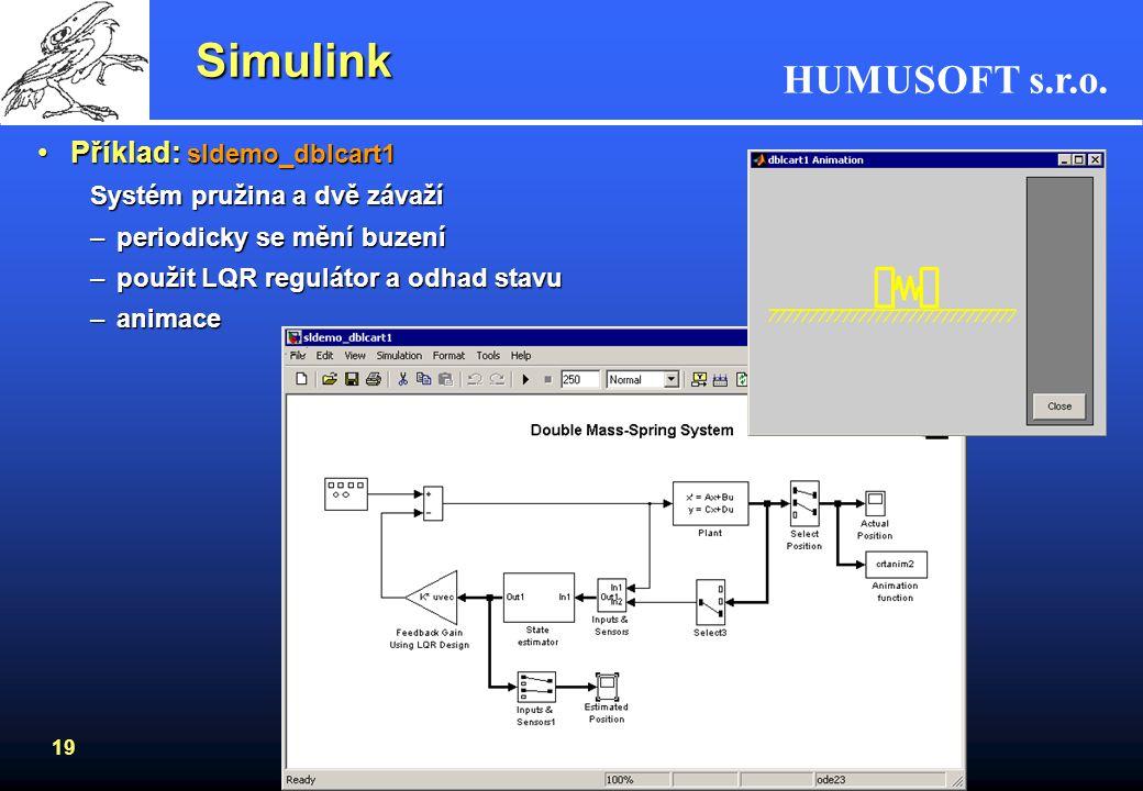 Simulink Příklad: sldemo_dblcart1 Systém pružina a dvě závaží