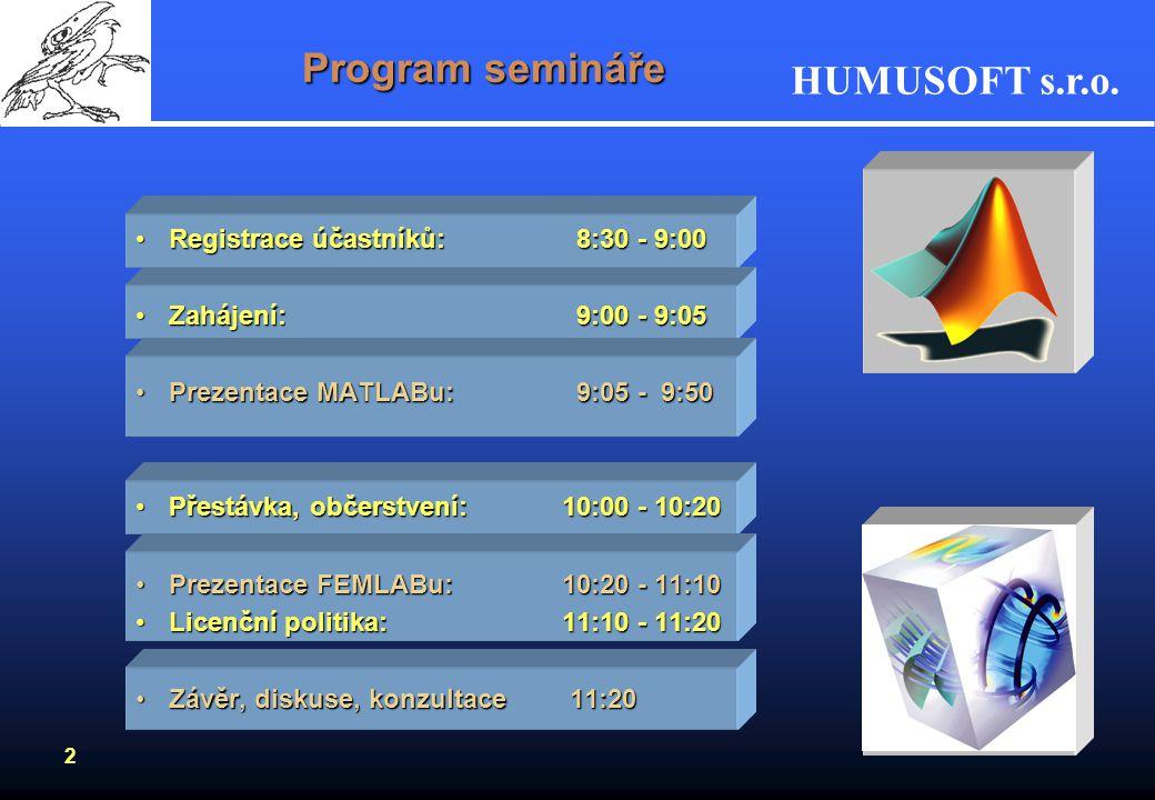 Program semináře Registrace účastníků: 8:30 - 9:00