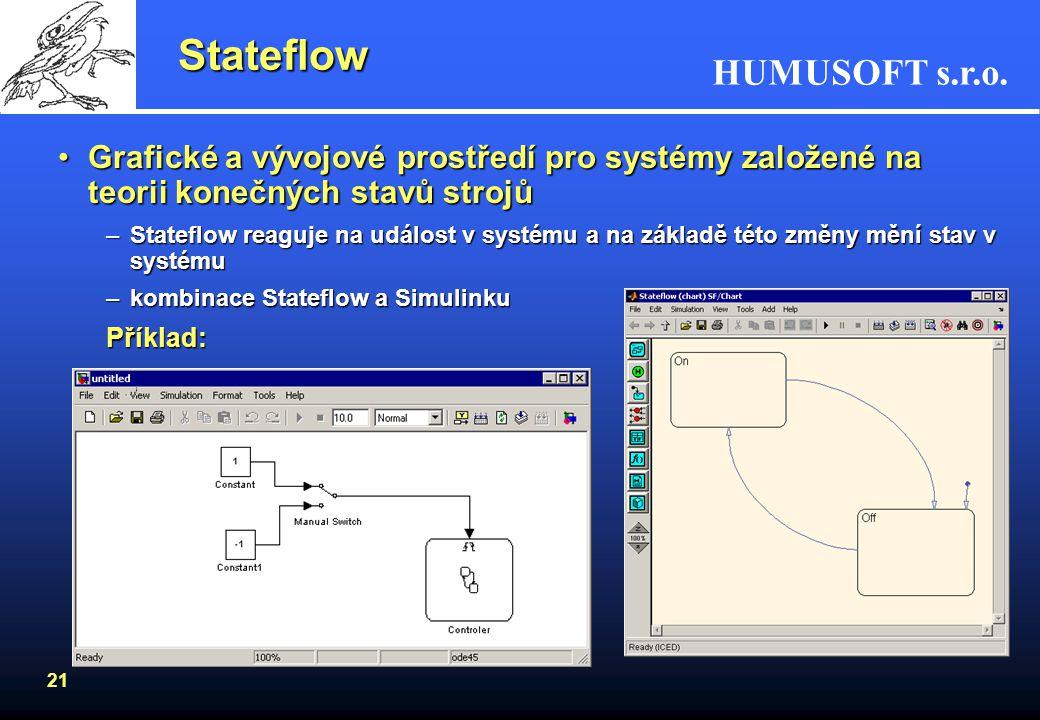Stateflow Grafické a vývojové prostředí pro systémy založené na teorii konečných stavů strojů.