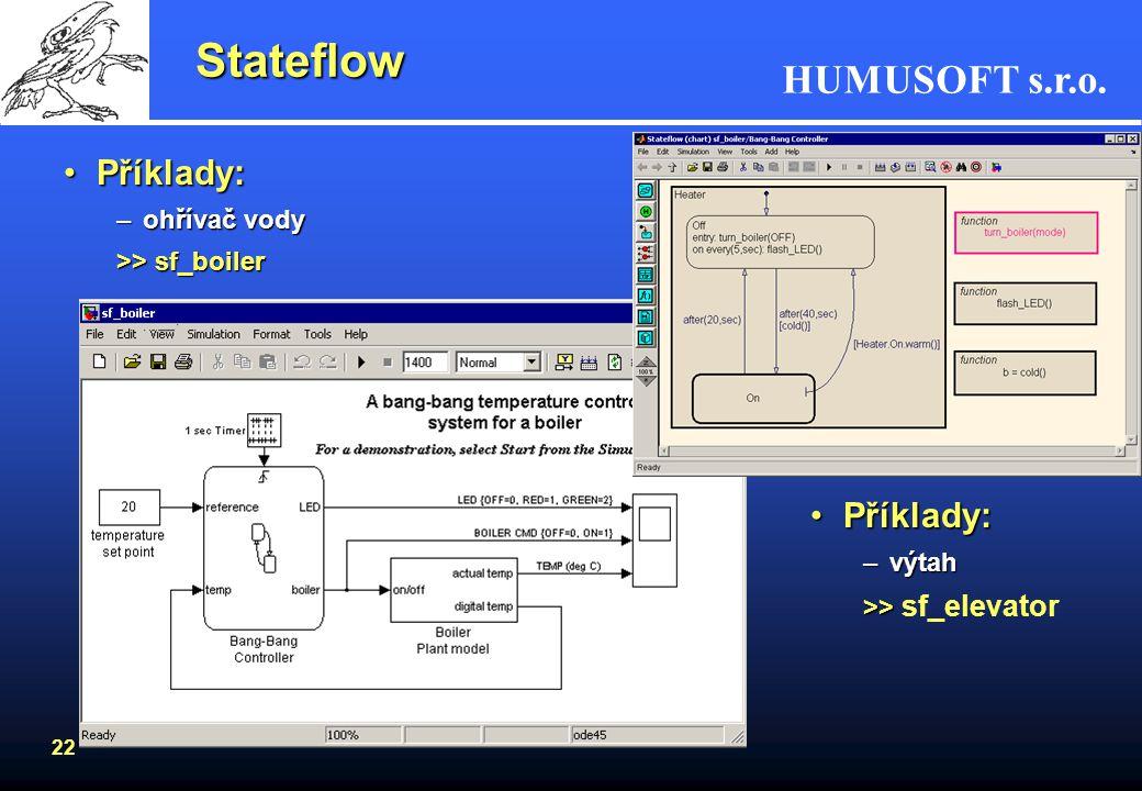 Stateflow Příklady: Příklady: ohřívač vody >> sf_boiler výtah