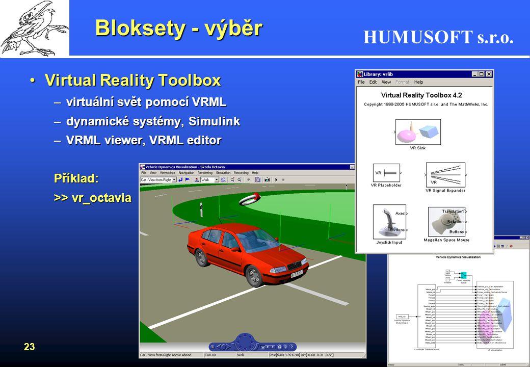 Bloksety - výběr Virtual Reality Toolbox virtuální svět pomocí VRML